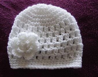 White beanie,Rose,Newborn, 0-3 months, Crochet, baby hat