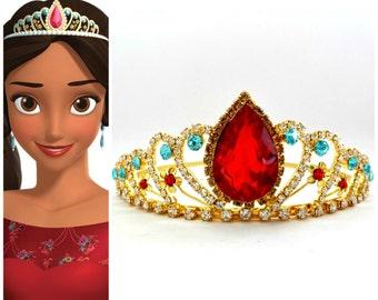 Elena Of Avalor Tiara,PRINCESS ELENA CROWN ,Princess Tiara,Princess Elena Rhinestone Tiara,Princess Elena Halloween Costume Red & blue crown