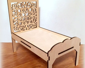 Big wooden doll bed for a dollhouse. Scale 1:6