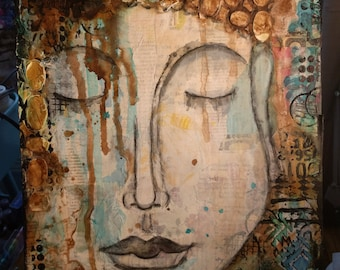Introspection- Mixed Media Painting on a 11x14 in flat canvas panel by Amber Button