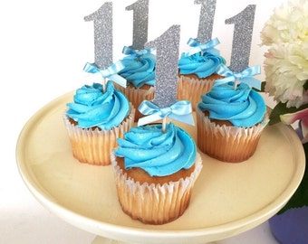 12 Silver 1 Cupcake topper, First Birthday Cupcake Topper, I am one, birthday decoration