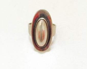 Vintage N E From Modernist Danish Sterling Silver Ring.