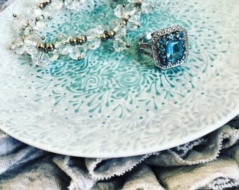 Hand Painted Jewelry Plate (Pearlized Ice/Sky Blue Ombre)