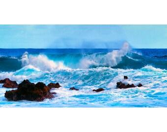 art print, wall decor, beach photography, home decor, fine art, beach pictures, ocean, beach decor, blue, white, waves, turquoise, seascape