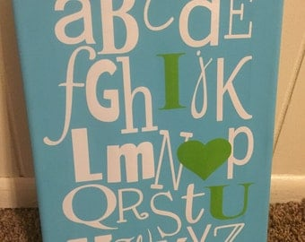 Abc I love you blue and green