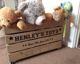 Personalised Wooden Toy Crate Toy Box Rustic Vintage Style Childrens Toy Storage