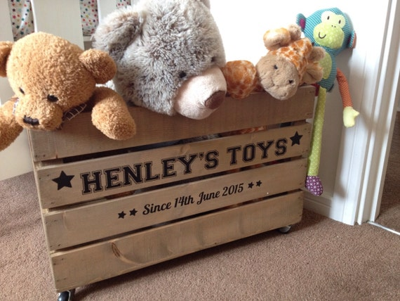 Personalised Wooden Toy Crate Toy Box Rustic Vintage Style