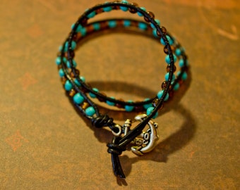 Wrap Around Leather Bracelet with Anchor and Seed Beads