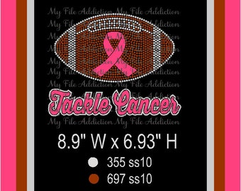 Instant Download Vinyl and Rhinestone SVG EPS Design File Awareness Ribbon Tackle Cancer Breast Colon Leukemia Ovarian Lung