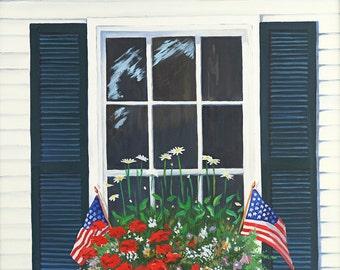 Fine Art Print - Windowbox flowerbox, Fourth of July, Independence Day, Stars & Stripes, flower box, Americana, New England, windowbox