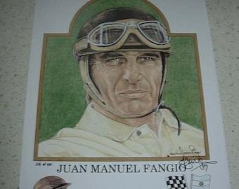 limited edition print of  juan manuel fangio, f1 world champion 1951,1954-57
