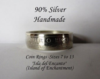 90% Silver Puerto Rico Quarter Coin Ring-Clear Silver Finish