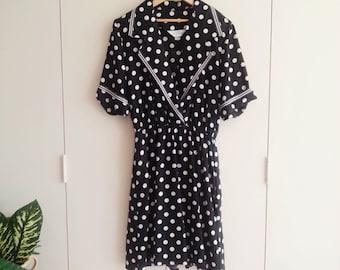 SALE - Vintage Dress - Retro Fashion - Vintage Clothing - 80s Dress - Spotty Dress