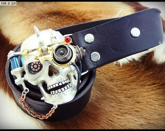 Belt buckle skull STEAMPUNK - vegetable tanned leather croupon
