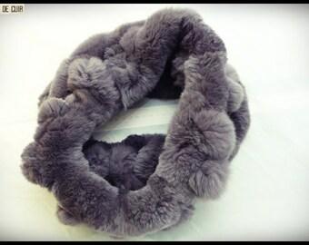 Snood gray rabbit fur fonçé