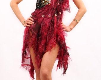 Designer dance dress dress black, Latino bordeaux piece! Nr. 10