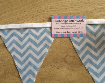 Blue & White Chevron, Zig Zag Fabric Bunting Per Metre,  Ideal for Baby Boy's, Christenings, Baby Showers and Bedrooms