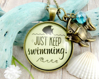 Just Keep Swimming Endurance and Perseverance Motivational Quote Necklace Keychain, Motto of Dory Finding Nemo