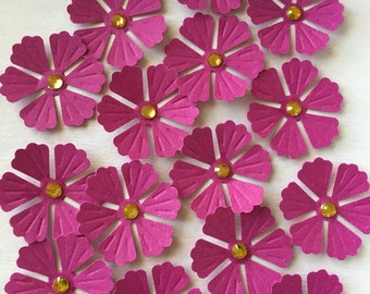 15 Purple Handmade Paper Flower Embellishment with Rhinestone for Cards Scrapbooking Paper Projects
