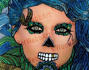 5x5 Estoy en el viento (I'm in the wind) Sugar Skull Day of the Dead Dia De Los Muertos Art Print