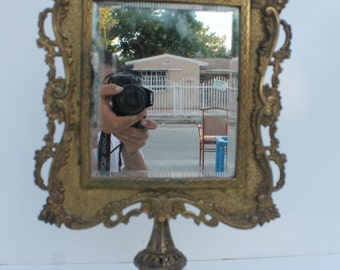 French Antique Ornate Gild Metal Vanity Table Mirror.