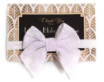 White Eyelet & Lace Tailed Fabric Bow