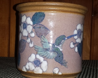 Vintage Hand Thrown Pot With Humming Bird and Flowers