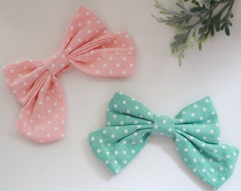 Pink Mint White Polka Dot Bow
