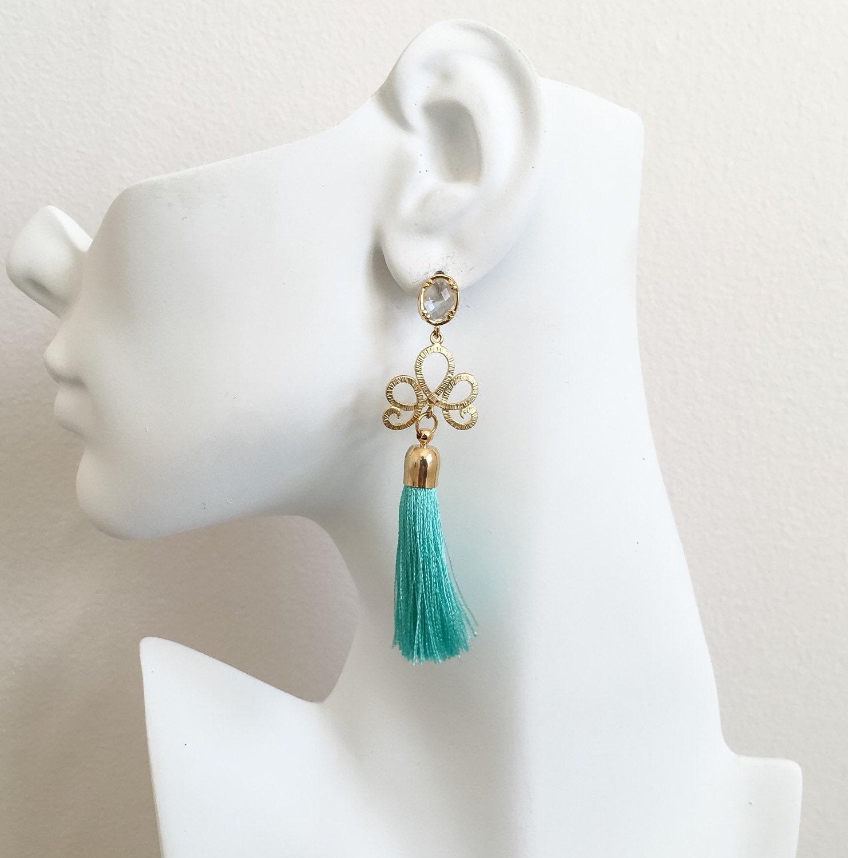 Turquoise Silk Thread Tassel Earrings Boho Tassel Earrings