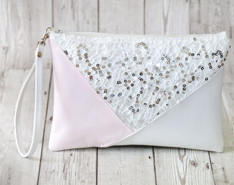 White clutch bag, Sequin clutch purse, Pink clutch, Vegan leather clutch, Wedding clutch, Wristlet clutch, Bridesmaid gift bag,