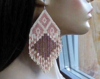 NEW! Beaded Earrings. Light Brown Beige Earrings. Native American Earrings Inspired. Extra Large Earrings. Beadwork