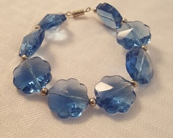 Blue Flower Bracelet - Glass Flower Bracelet - Blue Glass Flower Bracelet - Women's Blue Bracelet - Women's Flower Bracelet - Blue Flowers