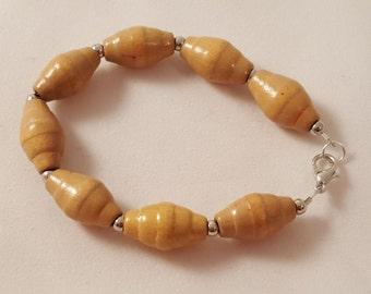 Oval Shaped Wooden Beads & Silver Plated Spacer Beads - Bracelet SIZE SMALL - Wooden Bracelet - Women's Wooden Bracelet - Wood Jewelry
