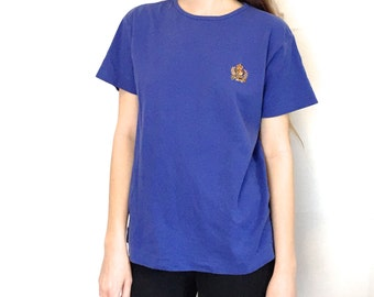 90s Vintage Ralph Lauren Dark Purple Minimal Oversized T-Shirt with Embroidered Logo