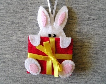 Felt hanging ornaments easter decorations rabbits bunny,  felt ornaments animals, white red yellow pink