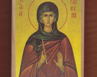 Virgin Martyr Saint Glykeria.Christian orthodox icon. FREE SHIPPING