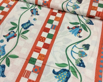 "P & B Textiles Fabric  ""Elanors Picnic"" by Piece O Cake Designs- One Yard Cut.  Border stripe cheater fabric, Applique Flowers"