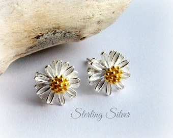 Tiny Flower Stud Earrings In Solid Sterling Silver On Sterling Silver Studs - Gift For Her