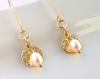 Gold And Pearl Earrings On Gold Hammered Discs Dangle Earrings On Gold By Strand&Soul