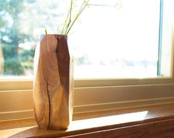 Small Walnut Geometric Wooden Vase | Flower Vase | | Bud Vase | Minimalist Vase | Geometric Vase