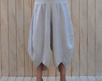 Ladies Lagenlook Tulip Harem Pants Trousers Linen Sizes UK 14 16 18 20  Z49