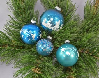 Vintage Blue Stenciled Glass Ball Christmas Ornaments Shiny Brite And Made In The USA