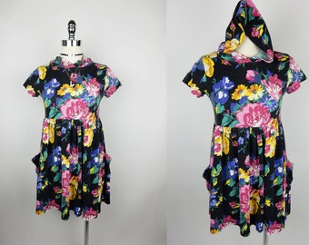 90s Vintage Floral Hooded Babydoll Black Faded Pocket Mini Dress XS/S