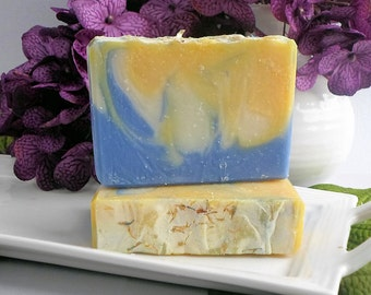 Escape - Tropical Esccape Scented Handmade Cold Process Soap, Artisan Bar Soap, Blue Yellow Fruit Soap
