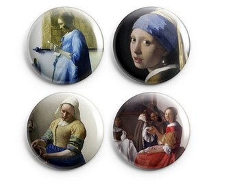 "Vermeer buttons - Vermeer Magnets  - Set of 4 - 1.25"" Pinback Buttons, Magnets, or Flair - Girl with the Pearl Earring, gift for coworker"
