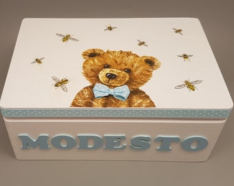 Personalized Baby Keepsake and Memory Box, Decoupage Box, Christening Box, Baptism Box, Wooden Box, Gift for Baby Boy, Newborn, Teddy Bear