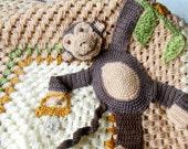 Crochet Baby Blanket Picture Cheeky Monkey Afghan Baby Shower Kids And Baby Stroller Blanket Animal  Light Brown, Beige