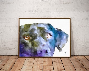 Labrador Retriever Dog Print Black Lab Art Dog Watercolor Print Lab Dog Art Black Lab Print