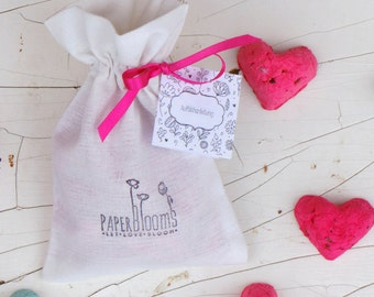 Colorful seed hearts in a muslin bag, 10 pcs.