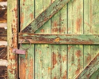 Green Door, Weathered Door, Ranch Door, Green, Rustic, Door Photography, Western Photography, Fine Art Photography, Rural Photography, Aged